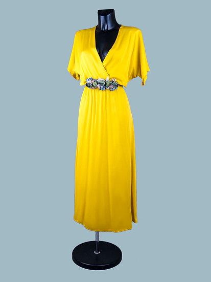 Желтое вискозное платье с запахом | chichi