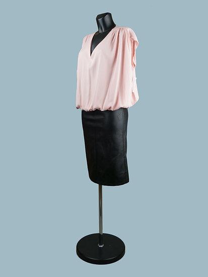 Летняя блузка большого размера короткая розовая
