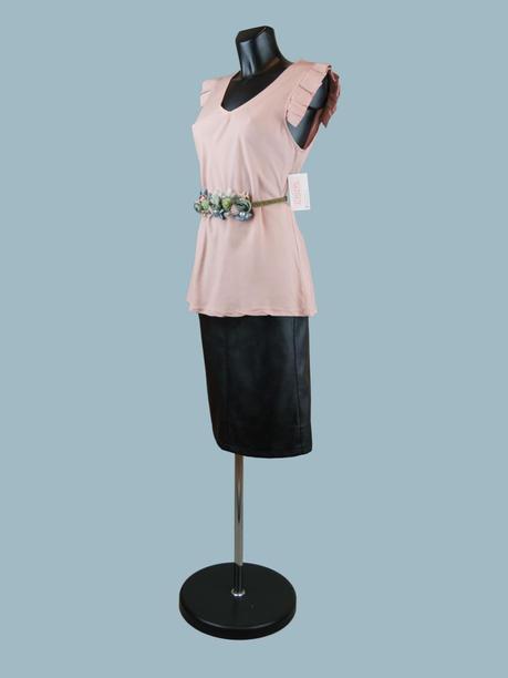 Летняя блузка без рукавов с крылышками пудра