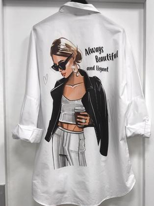 Блузка белая с рисунком 264001