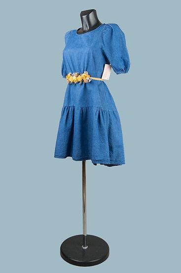 Нарядное свободное темно-джинсовое платье. Италия. Размер: 42-48