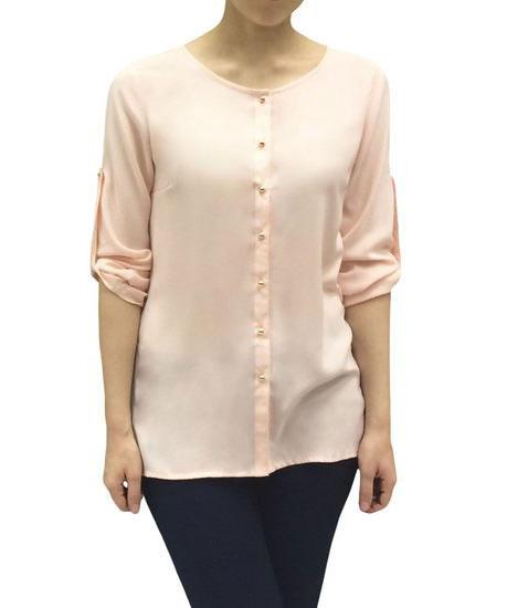 Женская блуза удлиненная нежно-розовая 101801