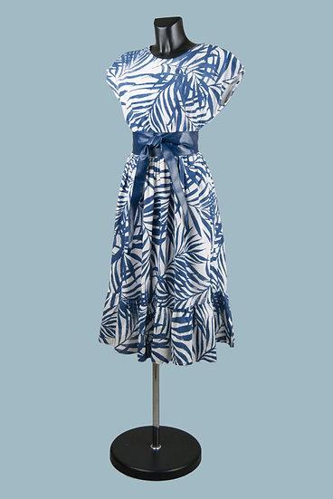 Летнее платье с тропическим рисунком синее. Италия. Хлопок. Размер:44-50