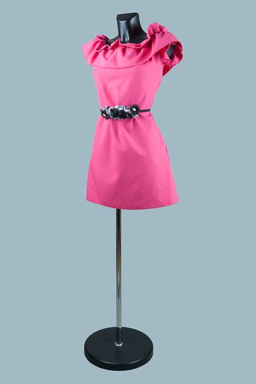 Короткое нарядное платье с карманами фуксия. Польша. Размер: 42-46.