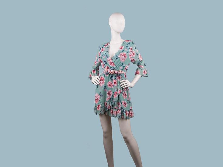 Платье мятное с цветами 25863810