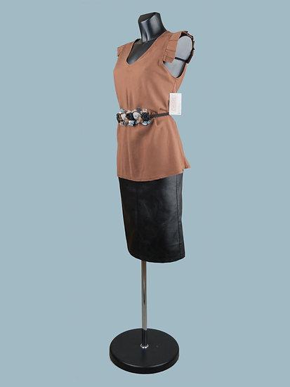 Летняя блузка без рукавов с крылышками коричневая