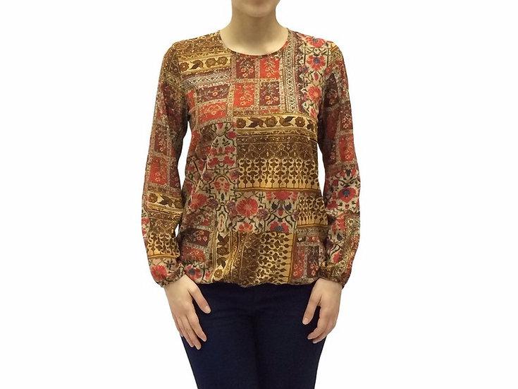 Нарядная женская блузка с длинным рукавом кирпичного цвета с узором 991738