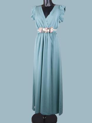 Длинное платье мятное  2280
