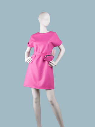 Платье  кожаное фуксия