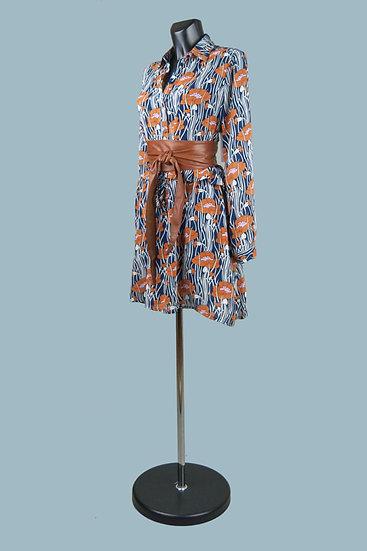 Платье- туника темно-синяя свободного покроя с рисунком