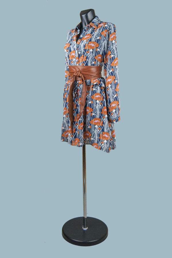 Платье - туника темно-синяя свободного покроя с рисунком 134615