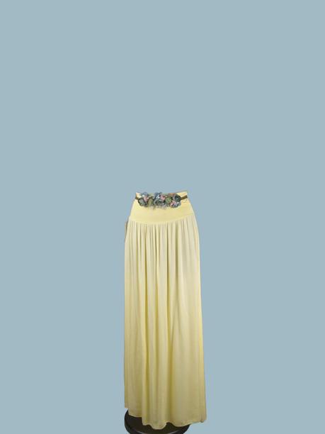 Юбка длинная желтая