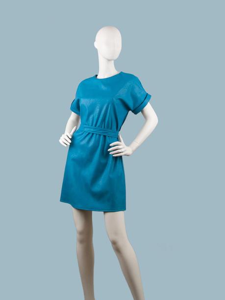 Платье  кожаное королевский синий 25077910