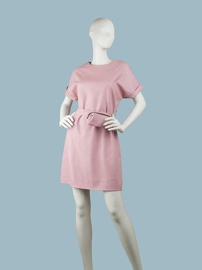 Платье короткое кожаное розовое
