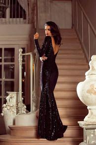 Вечернее платье в пол черное 1755