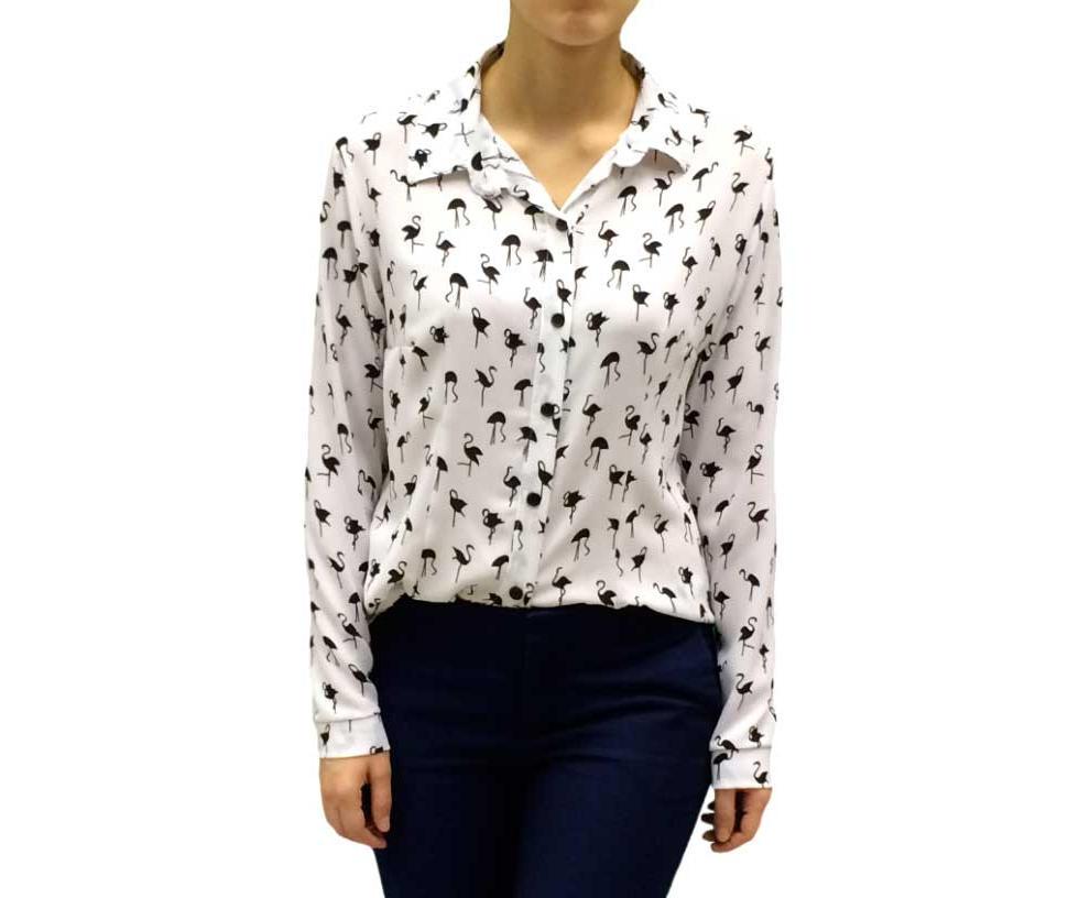 Нарядная белая блуза с рисунком фламинго 10030113