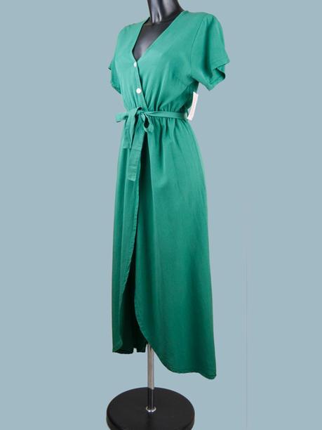 Платье зеленое миди с запахом 2285
