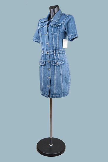 Платье джинсовое мини на пуговицах