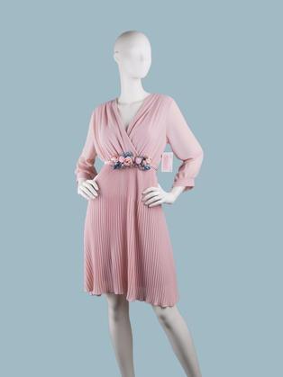 Платье  шифоновое миди с запахом розовое