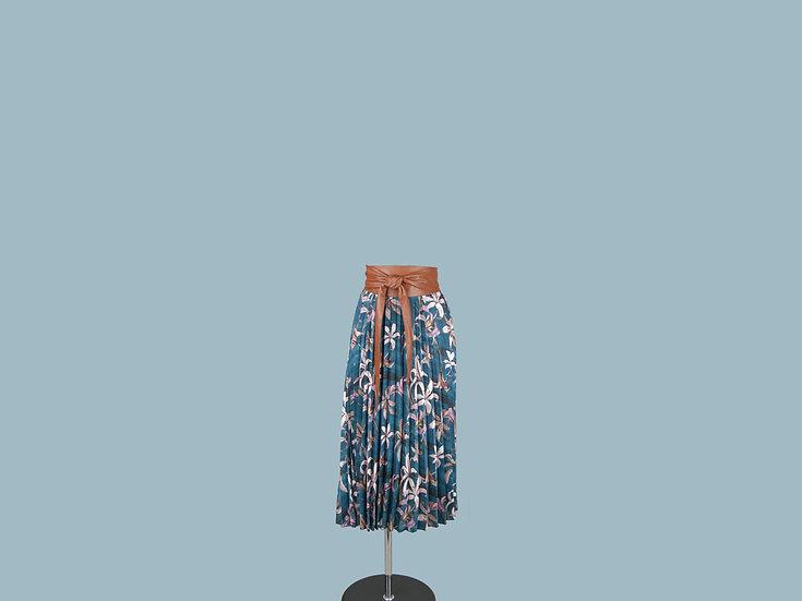Юбка плиссированная синяя с цветочным рисунком  245810