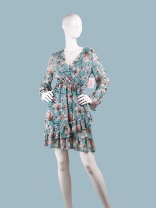 Платье  шифоновое  с запахом голубое с цветами