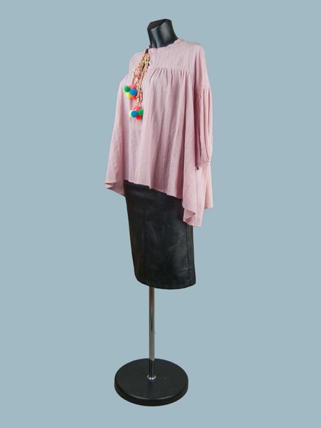 Свободная хлопковая блузка розовая