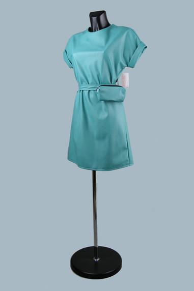 Модное платье из экокожи мятное 2020 (1)