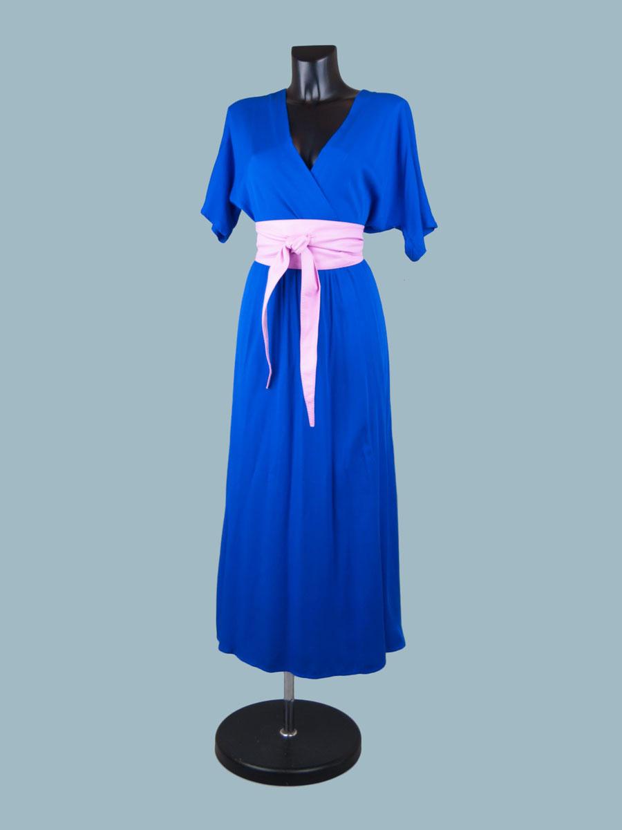 Длинное ярко- синее вискозное платье с запахом