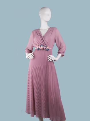 Платье  шифоновое длинное с запахом розовое
