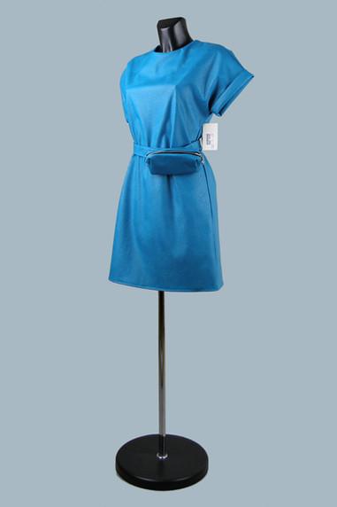 Модное платье из экокожи синее  медный к