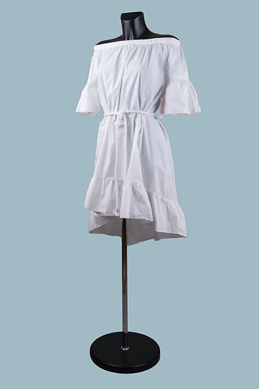 Белое летнее платье с ассиметричным низом. Италия. Хлопок. Размер: 42-48