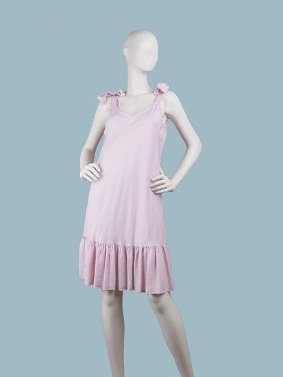 Сарафан розовый с оборкой