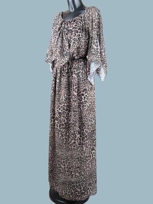 Платье  шифоновое длинное леопард