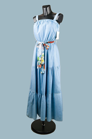 Длинный голубой сарафан. Италия. 100% лиоцелл. Размер: 42-44