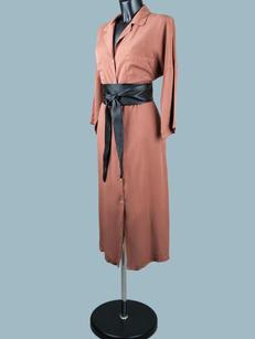 Платье-халат макси  терракот 2085