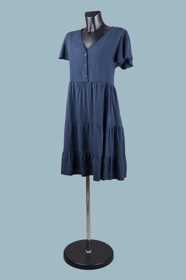 Платье расклешенное на пуговицах синее