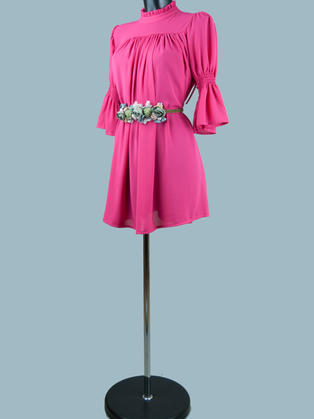 Платье  шифоновое мини малиновое