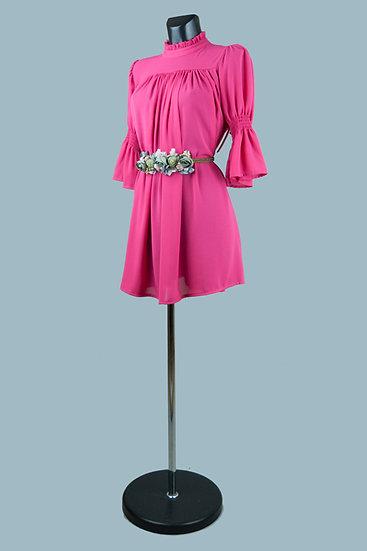 Шифоновое платье мини фуксия.Италия. Размер: 42-48