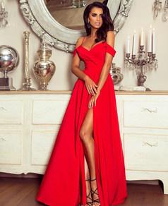Вечернее платье в пол красное 1757