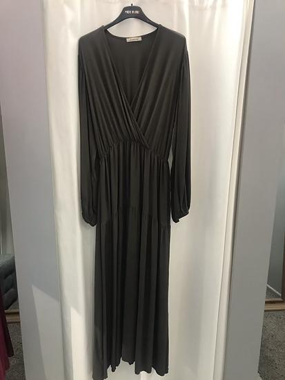 Платье свободное коричневое с запахом