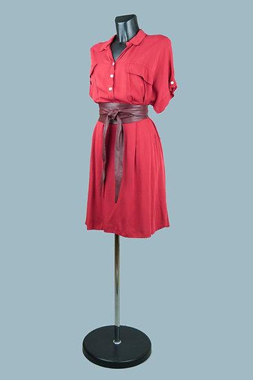 Платье- сафари бордовое  2050