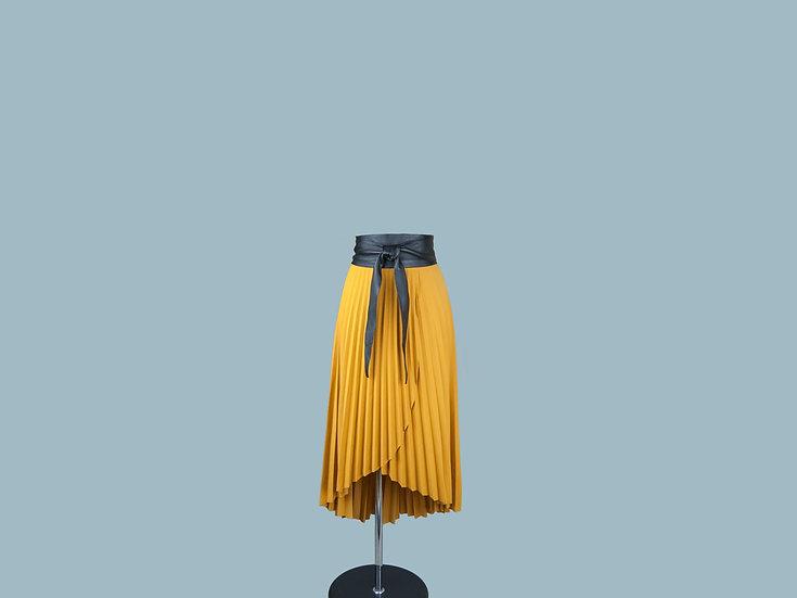 Юбка плиссированная ассиметричная желтая 24470801я