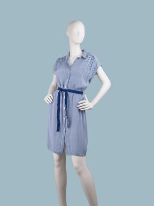 Платье в синюю полоску с застежкой