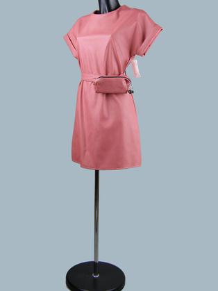 Платье короткое кожаное коралловое  25072810
