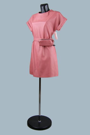 Платье из экокожи  коралловое 2020 (3).j