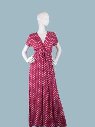 Длинное платье в горошек бордовое с запахом