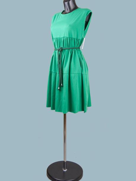 Платье трикотажное зеленое