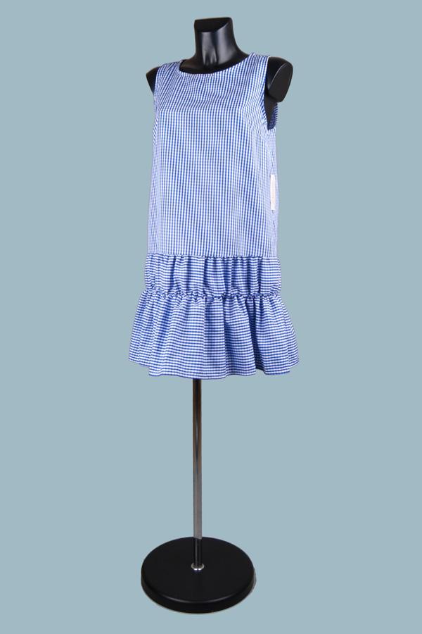 Платье в клетку голубое 1902