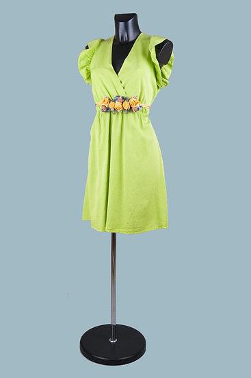 Летнее нарядное платье с вырезом-запах салатовое. Размер: 42-50. Италия. 100% лиоцелл