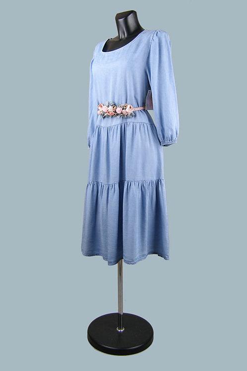 Свободное расклешенное платье с воланами джинсовое. Италия. Лиоцелл. Размер: 48-50